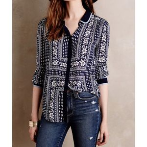 Anthropologie Maeve Printed Buttondown Top Sz 6